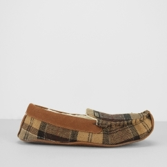 BETSY Ladies Moccasin Slippers Camel Tartan