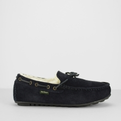 HALOM Mens Suede Moccasin Slippers Navy