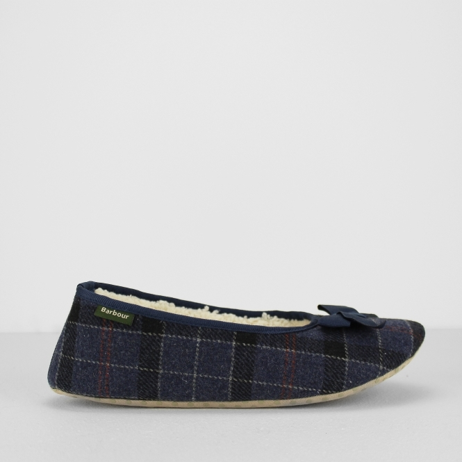 6fbf6ca9a Barbour LILY Ladies Ballerina Slippers Navy Tartan | House Of Slippers