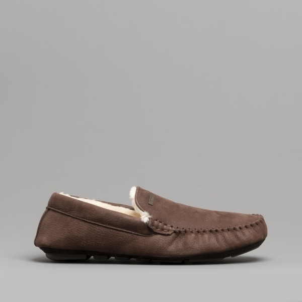 Barbour Monty Mens Leather Moccasin Slippers Dark Brown