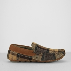 MONTY THINSULATE Mens Moccasin Slippers Camel Tartan