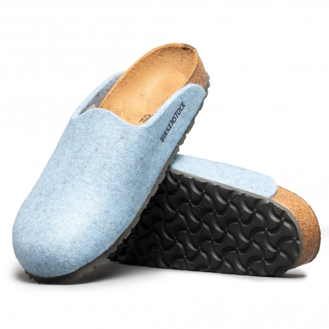 396e5181e78 AMSTERDAM 1011790 (Nar) Ladies Felt Clog Slippers Melange Light Blue
