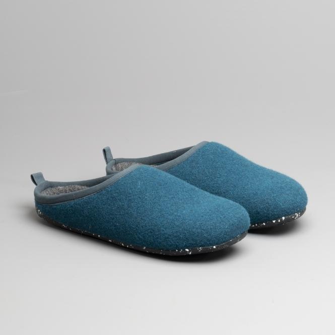 6188d2670a5 WABI Ladies Wool Mule Slippers Medium Blue