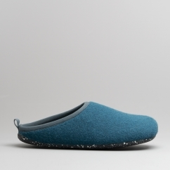e8562deb2e87 WABI Mens Wool Mule Slippers Medium Blue