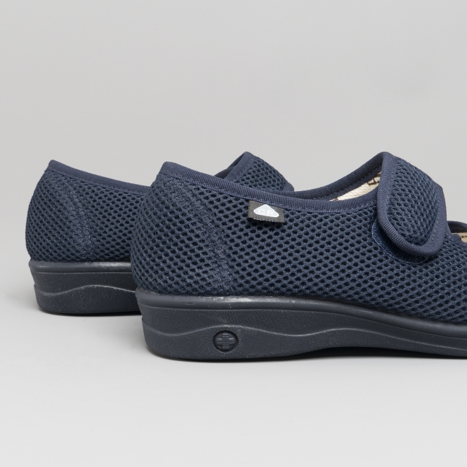 Celia Ruiz Mens Slippers Touch Fastening EEE Extra Wide Fit Washable Navy UK3-11