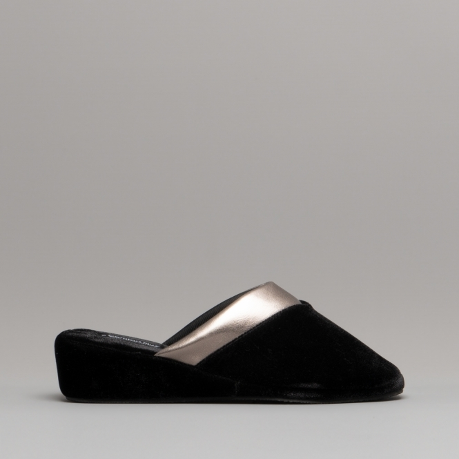 e11ca87d5d0 Comfort Plus MAPLE Ladies Wedge Mule Slippers Black