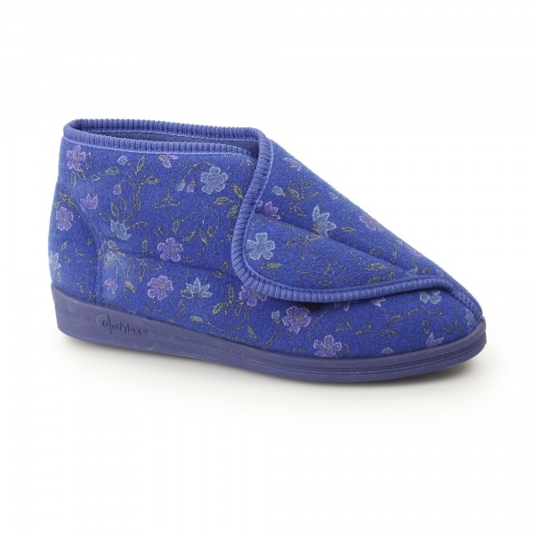 Comfylux Andrea Ladies Boot Slippers Floral Blue House
