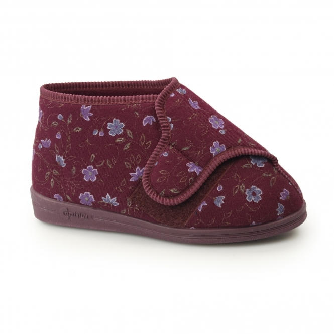 Womens Ladies Superwide 4E Fit Touch Close Floral Warm Lined Slippers Wine Red
