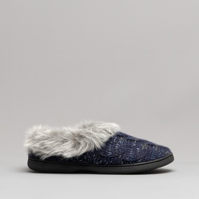 Dearfoams HOLLIE Ladies Womens Slip On Faux Fur Lined Warm Comfy Mule Slippers