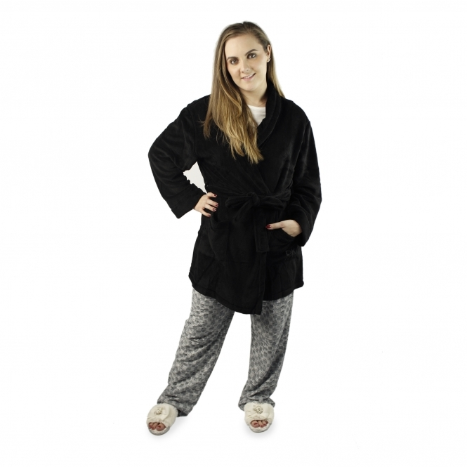 DKNY SIGNATURE ROBE Ladies Dressing Gown Black | House of Slippers