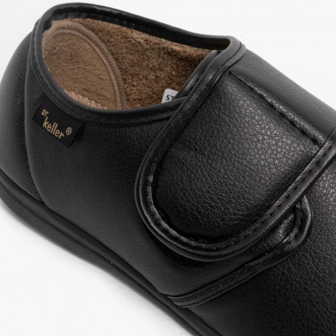 Dr Keller CHRIS Mens Faux Leather Slippers Black
