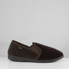 CORD Mens Corduroy Wide Fit Full Slippers Brown