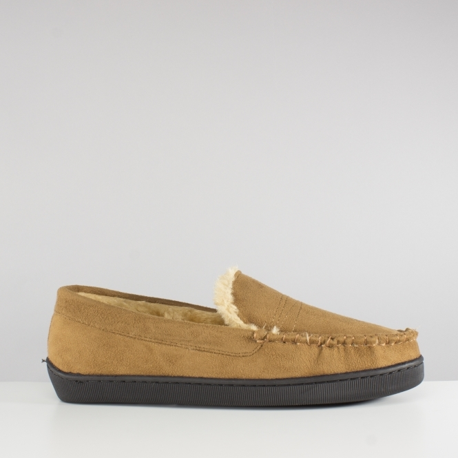 01a8f90488073c Dr Keller SEAN Mens Warm Lined Moccasin Slippers Tan | House Of Slippers