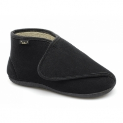 TERRY Mens Wide Fit Boot Slippers Black