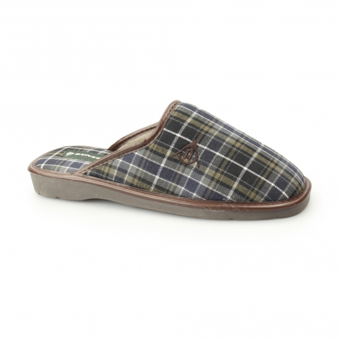 Dunlop ACELET Mens Mule Slippers Grey/Navy | House of Slippers
