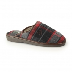 ACHILLE Mens Mule Slippers Red/Grey
