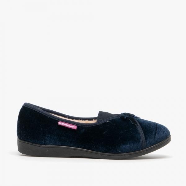 Dunlop Alice Ladies Velour Slip On Full Slippers Navy