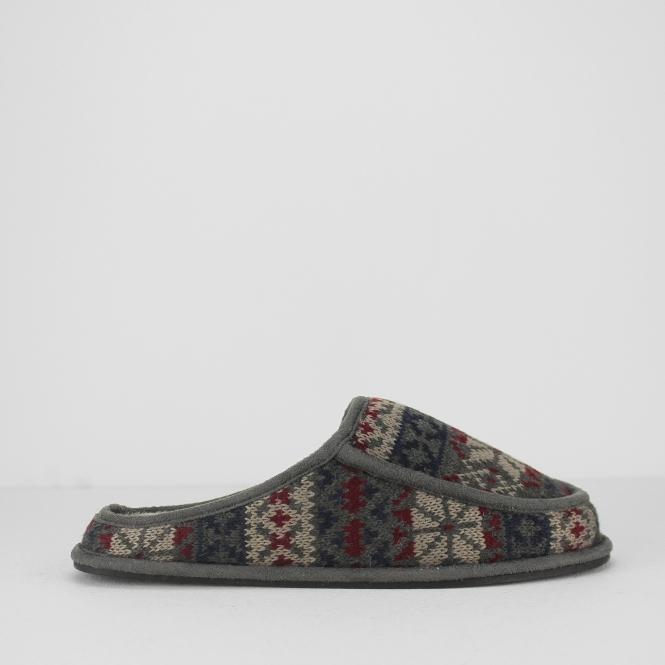 Dunlop ALVIN Mens Faux Fur Mule Slippers Grey Fairisle | House of ...