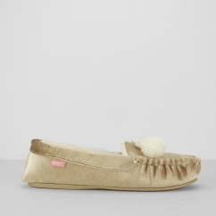 ANOUSKA Ladies Moccasin Slippers Champagne