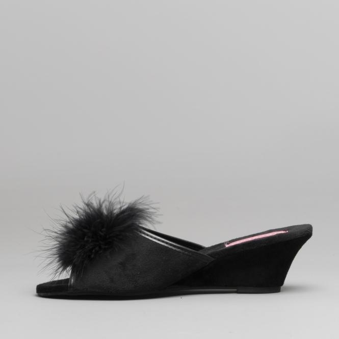 da5dc1e9e903 Dunlop MARILYN Ladies Womens Wedge Heel Slippers Black