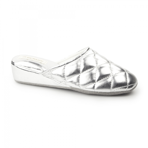 Dunlop Sybil Ladies Slip On Mule Slippers Silver House