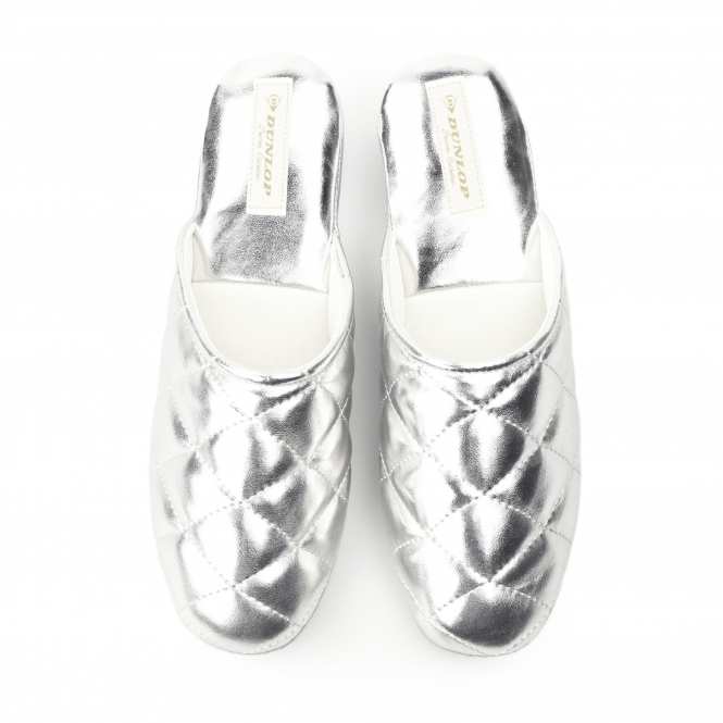 6f7009a61832 Dunlop SYBIL Ladies Slip On Mule Slippers Silver