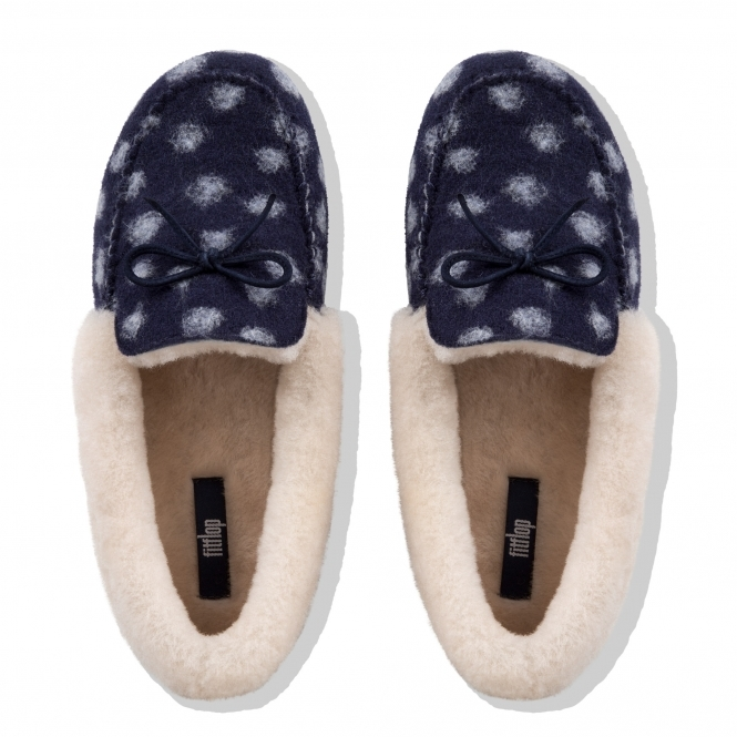 f5e4de486130 FitFlop CLARA MOCCASIN DOTS N38-399 Moccasin Slippers Midnight Navy ...