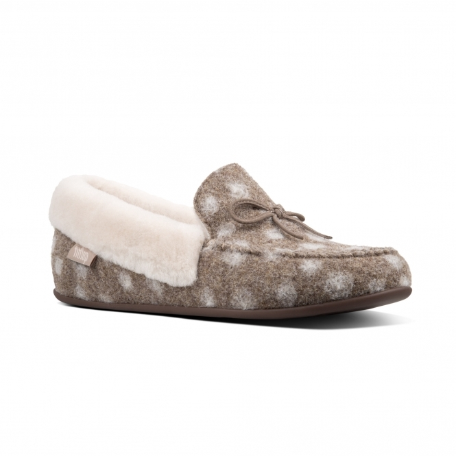 154daa0720c FitFlop CLARA MOCCASIN DOTS N38-076 Moccasin Slippers Taupe