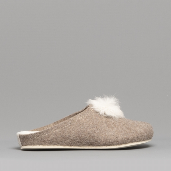 Fluffy S Alicia Ladies Slip On Mule Slippers Stone House