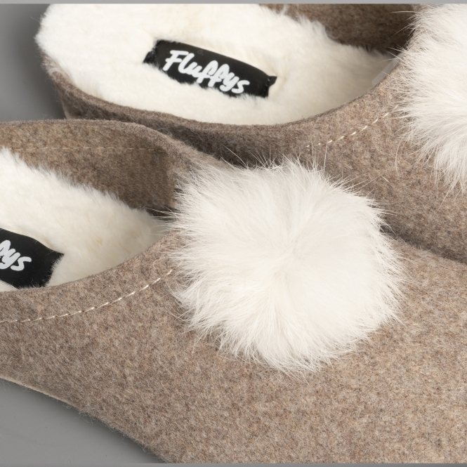 Fluffys ALICIA Ladies Womens Warm Fleecey Lined Slip On Mule Slippers Stone