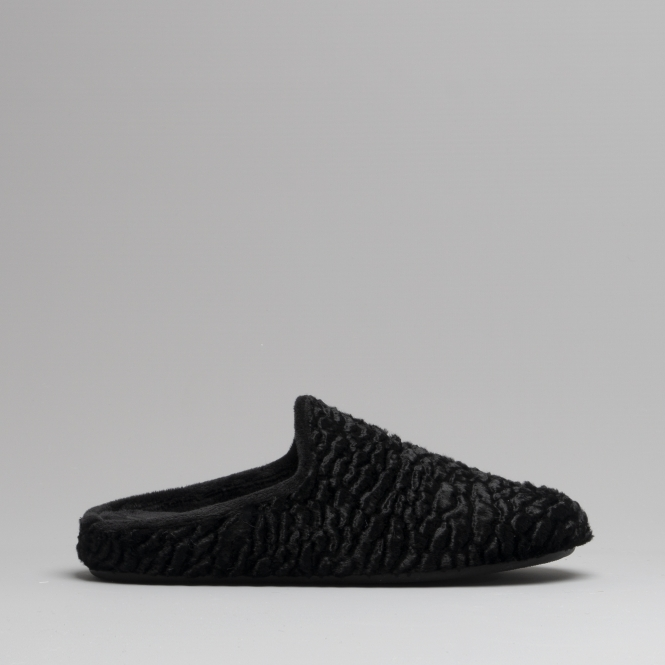 Fluffys EMMA Ladies Mule Slippers Black