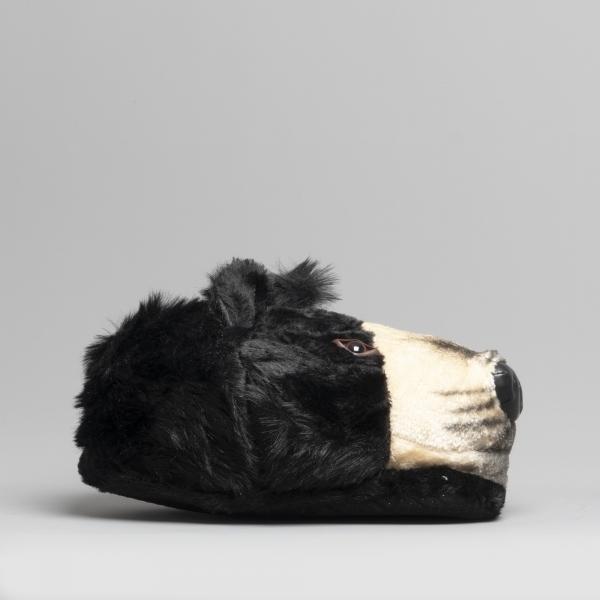 House Of Slippers Bear Mens Novelty Slippers Black