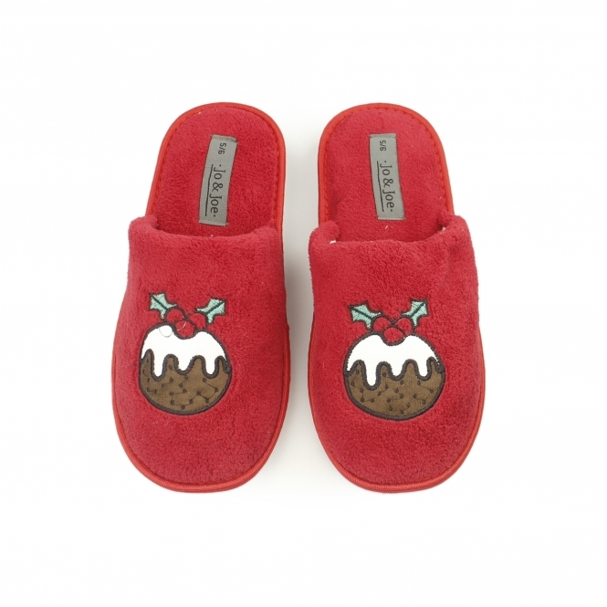 Festive Ladies Christmas Mule Slippers Red House Of Slippers