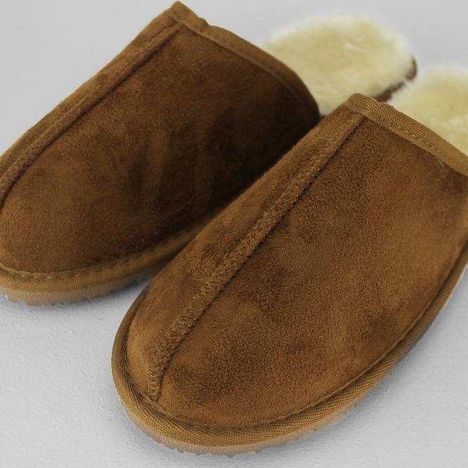 Papa Jams JACK Mens Slip On Comfort Luxurious Faux Fur Cosy Mule Slippers Brown