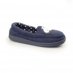 STAR GAZING Ladies Moccasin Slippers Navy