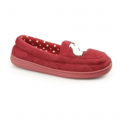 STAR GAZING Ladies Moccasin Slippers Red