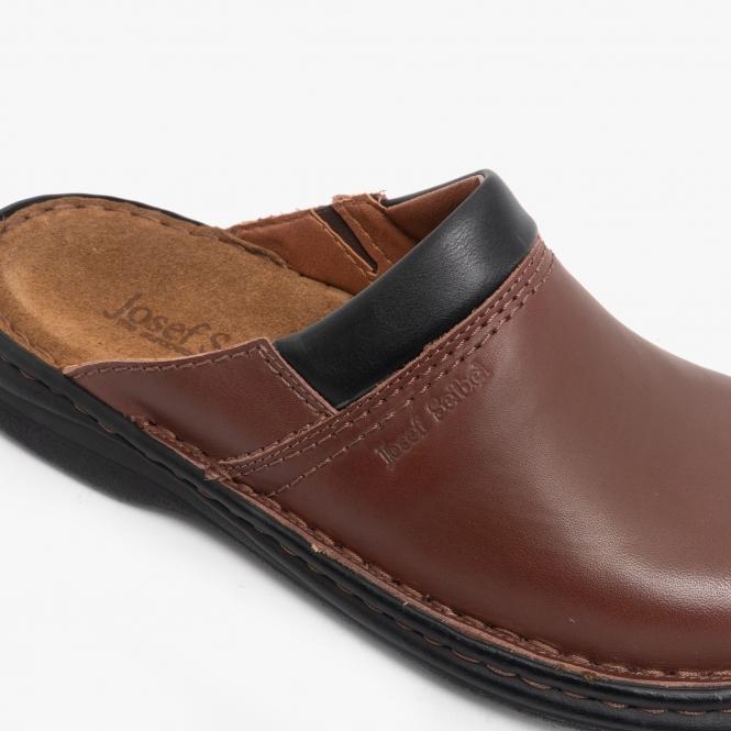 Buy Josef Seibel MAX Mens Leather Mule Clogs Brandy | HouseOfSlippers