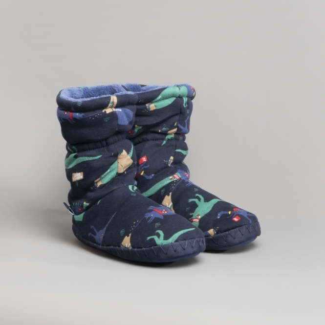 Navy Dinos Joules Boys Padabout Slippersock