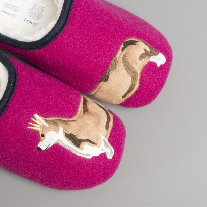 Joules SLIPPET Ladies Women Warm Felt Slip On Mule Illustrated Slippers Pink Dog