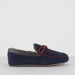 BENSON Mens Suede Moccasin Faux Fur Slippers Navy/Red