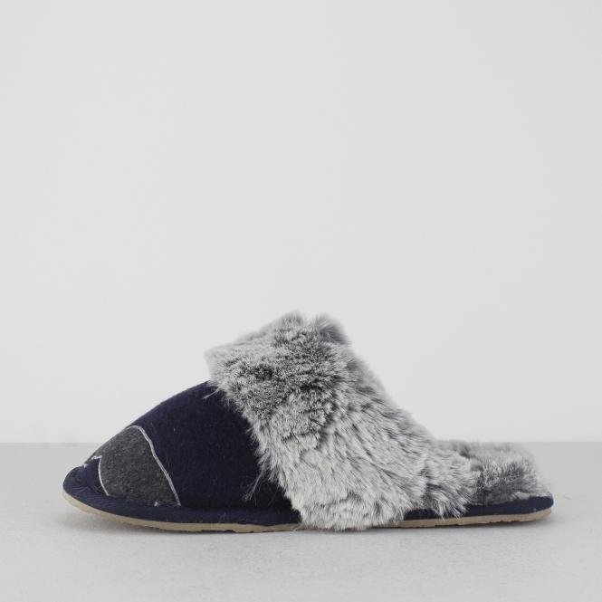 42cb0819ea7 Lazy Dogz MISSY Ladies Faux Fur Mule Slippers Navy