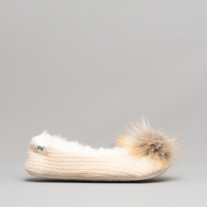 b44b7ba8df6 MOLLY Ladies Faux Fur Ballerina Slippers Beige Free EXPRESS Delivery · Lazy  Dogz ...