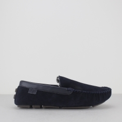 PERCY Mens Suede Driving Loafer Slippers Navy