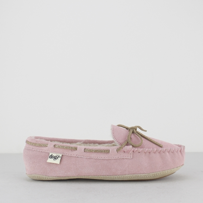 Lazy Dogz SADIE Ladies Suede Leather Moccasin Slippers Pink