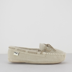 SANDY Ladies Suede Leather Moccasin Slippers Beige