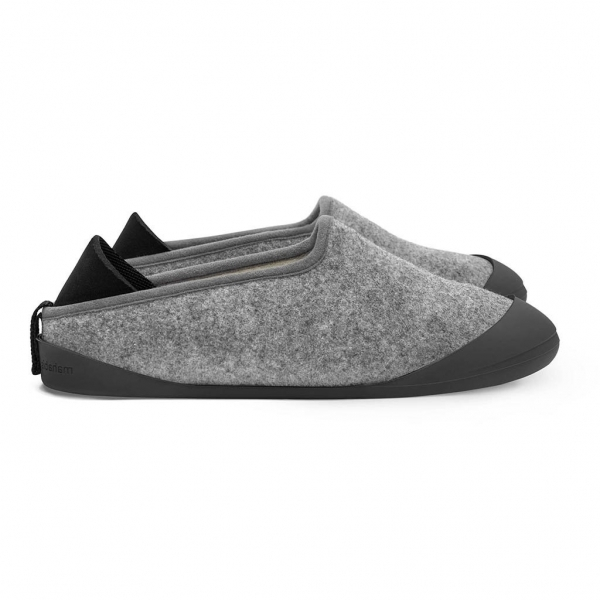 Mahabis Classic Mens Slippers Larvik Light Grey Skien Black