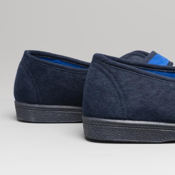 Womens Ladies Wider Fit Slippers Blue Warm Lined Slip On Mirak 3 4 5 6 7 8