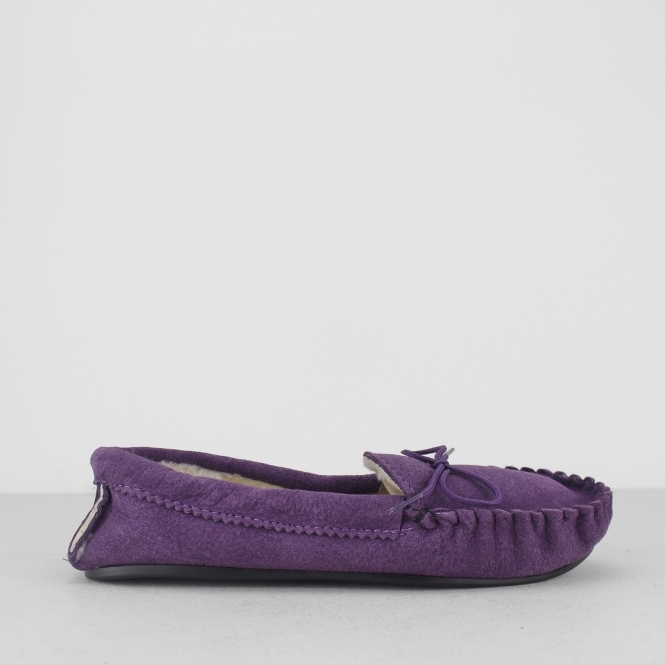 Mokkers ANGIE Womens Ladies Suede Faux Fur Lined Comfy Moccasin Slippers Purple