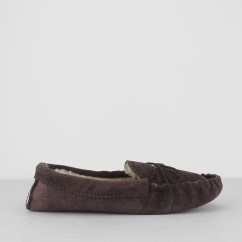 JAKE Mens Moccasin Slippers Brown