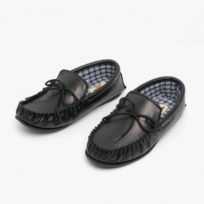 No Sole Mokkers JAKE Mens English Made Faux Fur Lined Moccasin Stitch Slippers